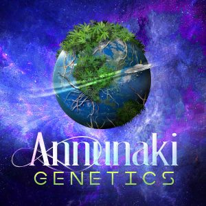 Annunaki Genetics logo cannabis planet in space