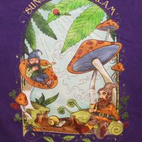 mushrooms and gnomes womens tshirt purple