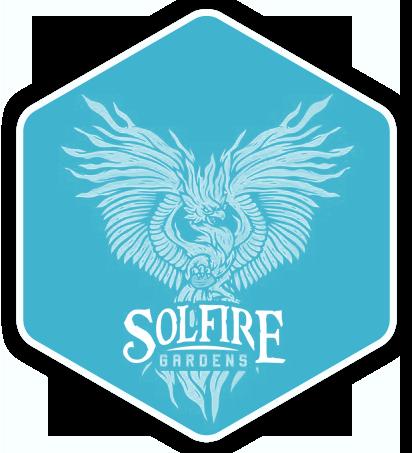 Solfire Gardens logo blue hex